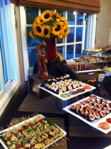 Sunflowers and Sushi buffet